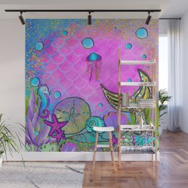 Pink Sparkly Sea Wall Mural