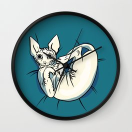 Playful Sphynx Kitty - Curled Up Nude Cat - Wrinkly Nude Cat - Blue Wall Clock