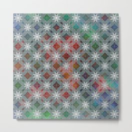 Abstract Star Flower Pattern Metal Print
