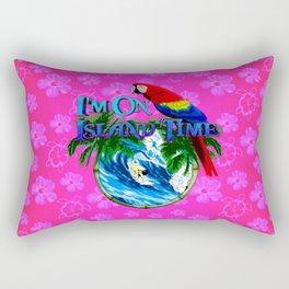 Island Time Surfing Pink Hibiscus Rectangular Pillow