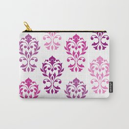Heart Damask Art I Pinks Plums White Carry-All Pouch