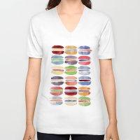 macaron V-neck T-shirts featuring Macaron by Marta Li