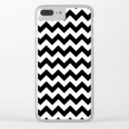 Black and White Chevron Print Clear iPhone Case