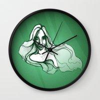 emerald Wall Clocks featuring Emerald by Sam Pea
