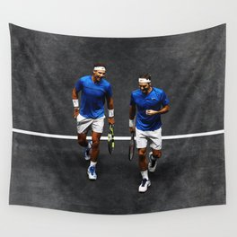 Nadal and Federer Doubles Wall Tapestry