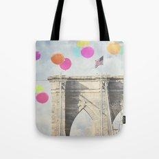 Bright Brooklyn Bridge Balloons Tote Bag