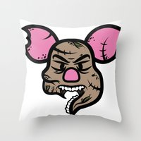 piglet Throw Pillows featuring Zombie Piglet by Kojó Tamás