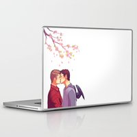 cherry blossoms Laptop & iPad Skins featuring Cherry Blossoms by brightfallenstars
