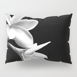White Flowers Black Background Pillow Sham
