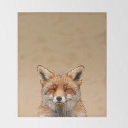 Zen Fox (Red Fox smiling) Throw Blanket