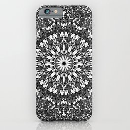Black And White Ornate Mandala Art Design iPhone Case