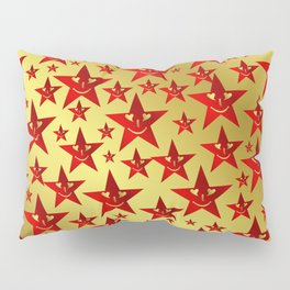 red, stars, face, laugh, smile, gold, pattern, colorful, christmas, motive, Pillow Sham