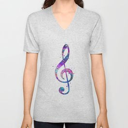 Treble Clef Sign Watercolor Print Blue Purple Wall Art Poster Music Poster Unisex V-Neck
