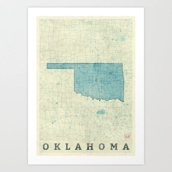 Oklahoma State Map Blue Vintage Art Print