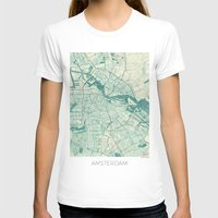 vintage map T-shirts featuring Amsterdam Map Blue Vintage by City Art Posters