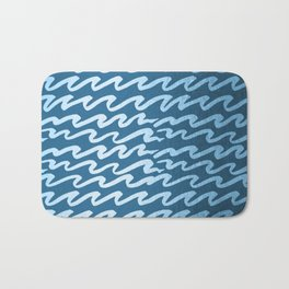 Abstract Waves - Blue Raspberry Shimmer on Saltwater Taffy Teal Bath Mat