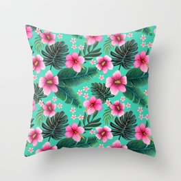 Maximalist floral green and pink Hibiscus & Plumeria Throw Pillow