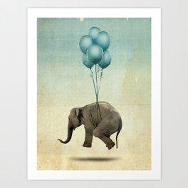 Levitating Elephant Art Print