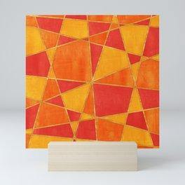 Abstract Watercolor Skewed Color Blocks - Red, Yellow, Orange Mini Art Print