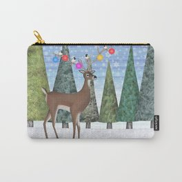 Christmas deer and chickadees Carry-All Pouch