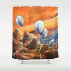 Balloons in the Sunset Shower Curtain