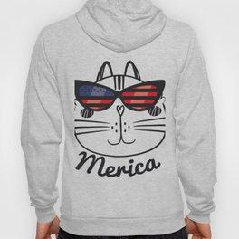 Merica Memorial Day Cat Funny American Flag Hoody