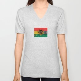 Old Vintage Acoustic Guitar with Ghana Flag Unisex V-Neck