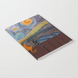 Three cats on a starry night Notebook