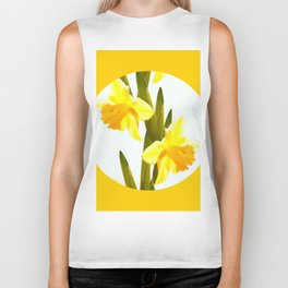 Yellow Spring Flowers with Green Leaf #decor #society6 #buyart Biker Tank