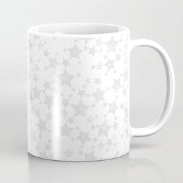 Block Print Silver-Gray and White Stars Pattern Coffee Mug