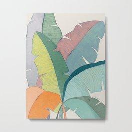 Banana leaves pastel colors Metal Print