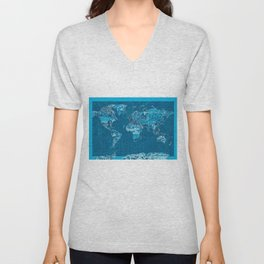World map collage blue Unisex V-Neck