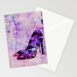 High heel female shoe watercolor art Stationery Cards