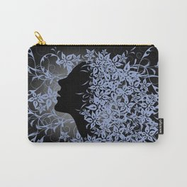 Girl's profile on floral background Carry-All Pouch