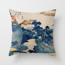 Cottages On Cliffs Traditional Japanese Landscape Throw Pillow