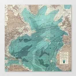 Vintage Green Transatlantic Mapping Canvas Print