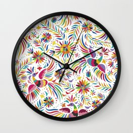 Mexican bird and flowers Wall Clock
