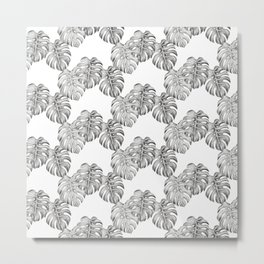 Black and White Monstera Leaf Pattern Metal Print