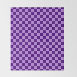 Lavender Violet and Indigo Violet Checkerboard Throw Blanket