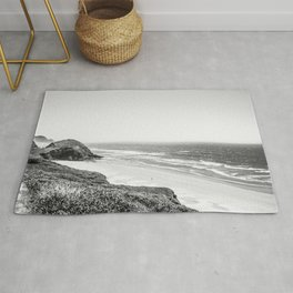 Beach Horizon   Black and White Color Sky Ocean Water Waves Coastal Landscape Photograph Rug