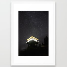 Fire Lookout at Night Framed Art Print