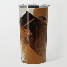 abstract mountains, rustic orange sunrise Travel Mug