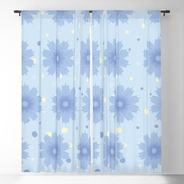 Blue shades blend flowers with polka dot background Blackout Curtain