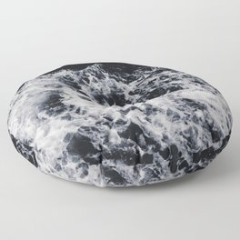OCEAN - WAVES - SEA - ROCKS - DARK - WATER Floor Pillow
