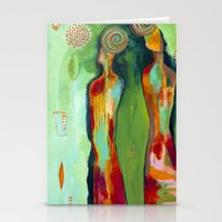 """flora bowley Stationery Cards featuring """"Two Flowers"""" Original Painting by Flora Bowley by Flora Bowley"""