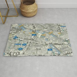 Illustrated map of Berlin-Mitte. Green Rug
