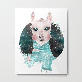 Holiday Llama Metal Print