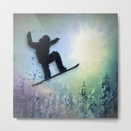 The Snowboarder: Air Metal Print