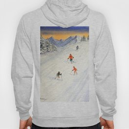 Skiing Family On The Slopes Hoody