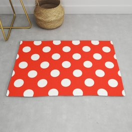 Red (RYB) - red - White Polka Dots - Pois Pattern Rug